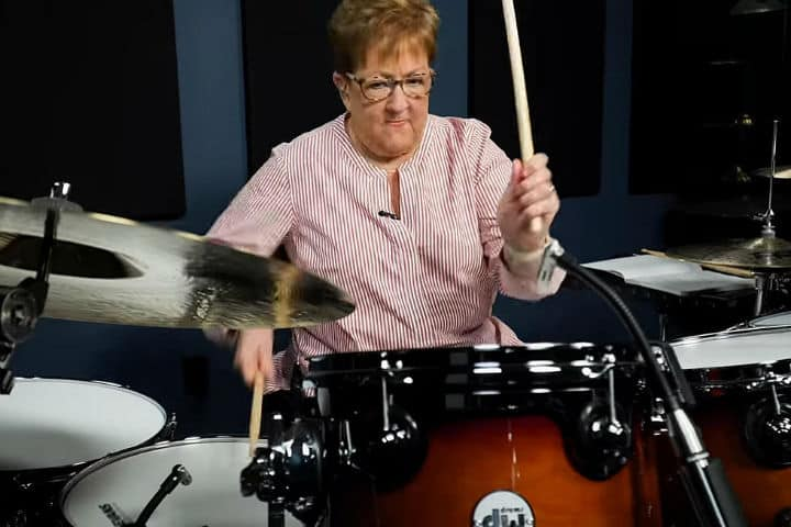grandma playing drums