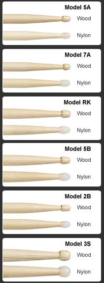 drum stick size chart