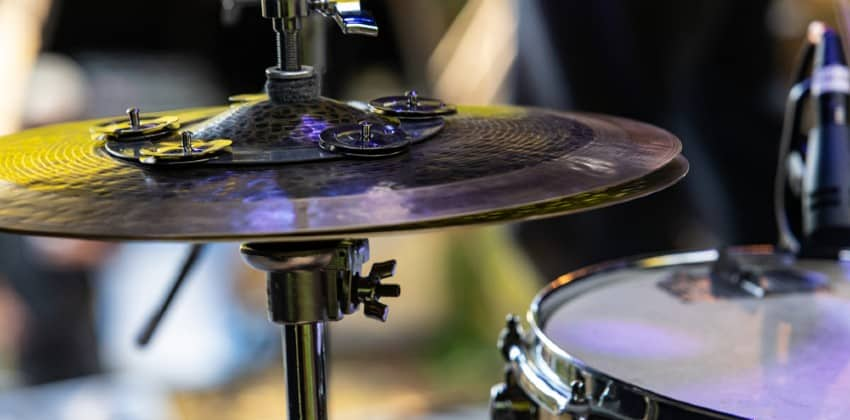 cymbal mounted on a stand
